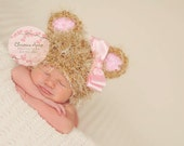 It's a Girl Crocheted Baby Bear Newborn Beanie Hat with Pink Ears for Infant Photography