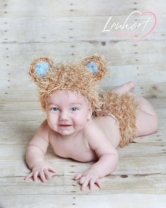 It's a Boy Crocheted Baby Bear  Beanie Hat and Matching Bottom with Blue Ears for Infant Photography