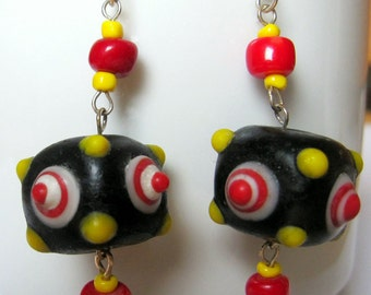 long glass earrings with silver hooks and coral, OOAK, German colours, summer trends