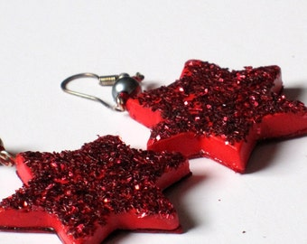 Long red Star earrings with red glitter, Stars and Stripes, festive jewelry