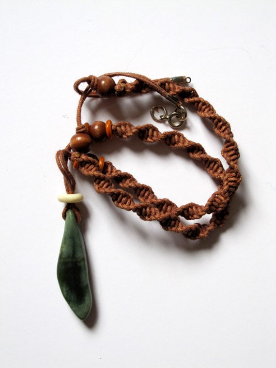 Ethnic necklace for men with Jade, wooden beads, hemp string