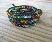 Triple Leather Wrap Bracelet with Czech Multi-Color Glass Beads