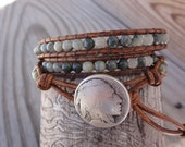 Triple Leather Wrap Bracelet with 4mm Green Line Jasper, Brown Distressed Leather & Indian Head Coin Button