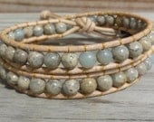 Aqua Terra Jasper Double Leather Wrap Bracelet