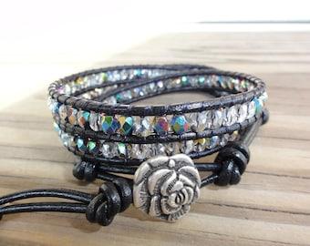 Leather Wrap Bracelet - Triple - Vitrail Czech Firepolished Glass Beads