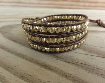 Triple Leather Wrap Bracelet Gold Firepolished Czech Faceted Glass
