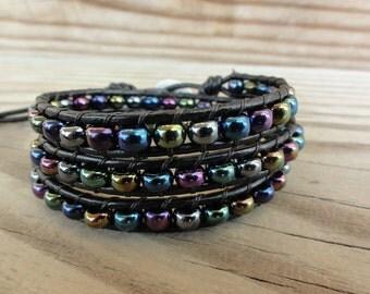 Triple Leather Wrap Bracelet Czech Glass Iris Metallic Mix with Elephant Button