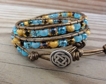 Leather Wrap Bracelet Triple Blue & Brown Czech Glass on Metallic Brown Leather with Celtic Knot Button