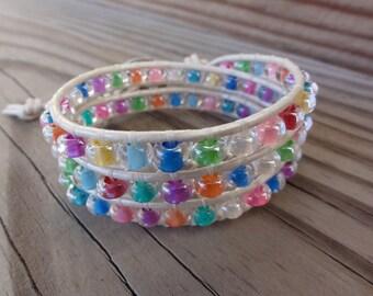 Leather Wrap Bracelet Triple Multicolor Czech Glass with Elephant Button