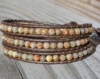 Autumn Jasper Beaded Triple Leather Wrap Bracelet with Elephant Button