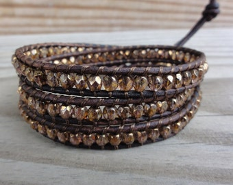 Copper Luster Faceted Czech Glass Beaded Triple Leather Wrap Bracelet with Brown Distressed Leather Cord