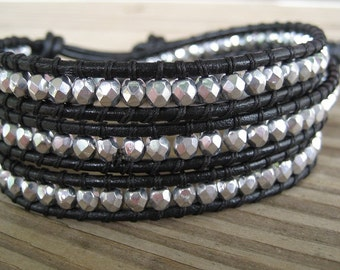 Leather Wrap Bracelet Silver Firepolished Faceted Czech Glass Triple Beaded