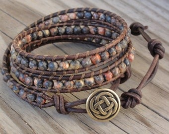 Triple Leather Wrap Bracelet with 4mm Leopardskin Jasper Beads & Celtic Knot Button