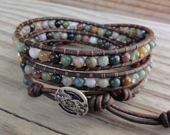 Triple Leather Wrap Bracelet with 4mm Fancy Jasper Beads
