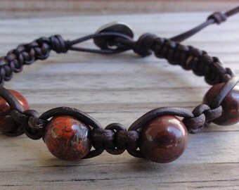 Leather Macrame Bracelet with Red Brecciated Jasper Beads
