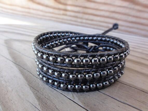 Triple Leather Wrap Bracelet with 4mm Hemalyke (Manmade Hematite) Beads