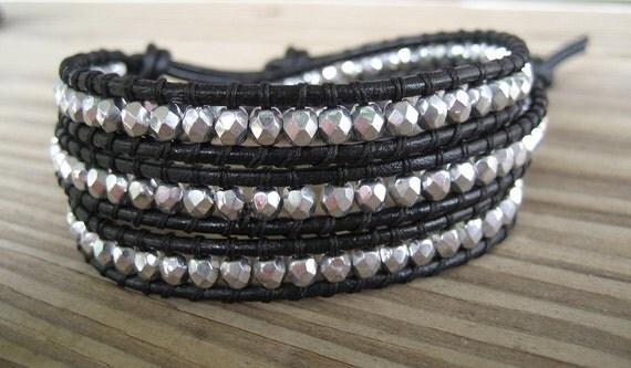 Leather Wrap Bracelet Silver Firepolished Faceted Czech Glass Triple Beaded