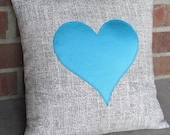 Valentine's Day Pillow Cover Teal Satin Heart Applique