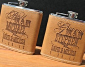 TWO Custom Engraved 6oz. Leather Covered Stainless Steel Flasks for Bridal Party