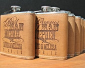 6 Custom Leather Flasks for Bridal Party
