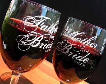Two Custom engraved wine glasses for toasting, custom wine glass,  personalized wine glasses,  wedding gift,  wedding favor