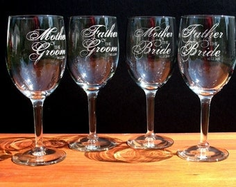Four Custom engraved wine glasses for toasting