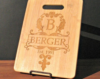 Family Name - Custom Engraved Bamboo Cutting Board - Personalized