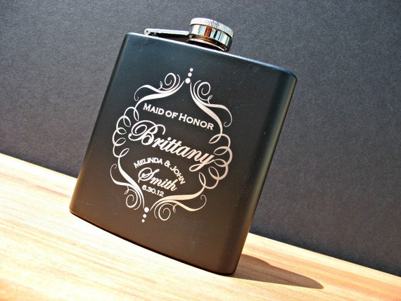 4 Custom Flasks For Your Bridal Party Maid of Honor and Bridesmaids