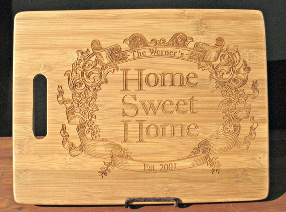 Wedding Gift - Custom Engraved Bamboo Cutting Board - Personalized