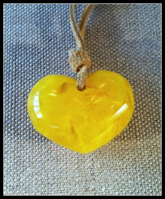 Yellow Resin Heart