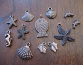 Beach Charms and Pendants in copper tone - Collection of 12 - C1060