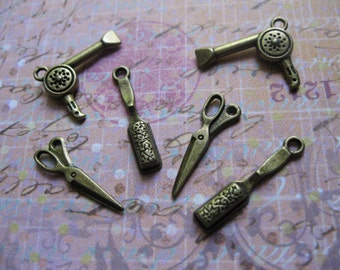 SALE - Collection of 6 hair styling charms in bronze tone - C439