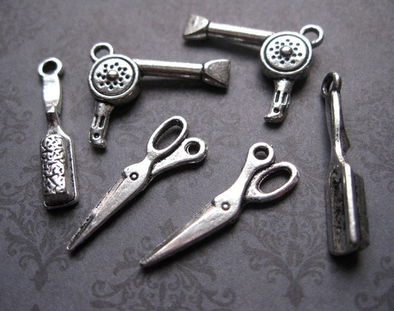 6 Hair Styling Charms in Silver Tone - C283