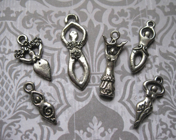 6 Wicca Goddess Charms / Pendants Collection in Silver Tone - C1072