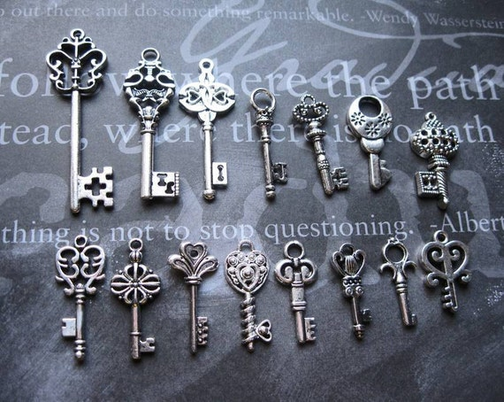Collection of Large Key Pendants / Charms in Silver Tone - C1139