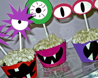 Monster Printable Cupcake Wrappers and Toppers