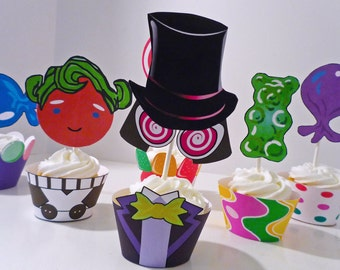 Willy Wonka Chocolate Factory Printable Party Cupcake Wrappers and Toppers