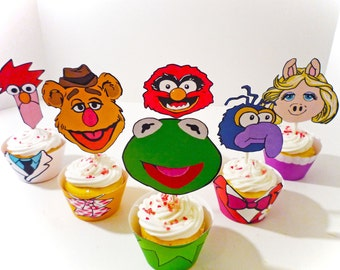 Instant Download- DIY- Printable Party - Muppet inspired Cupcake Wrappers and Toppers