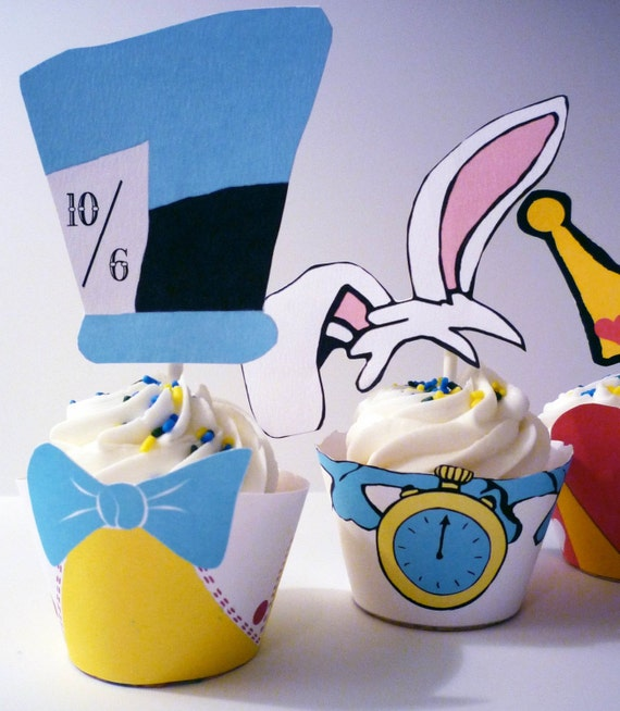 Alice In Wonderland Instant Download Cupcake Wrappers and Toppers