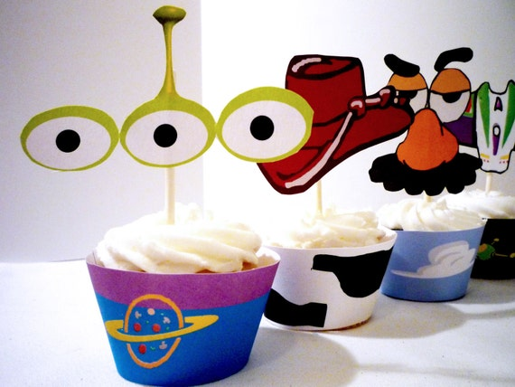 Instant download- Printable DIY- Toy Story inspired Cupcake Wrappers and Toppers