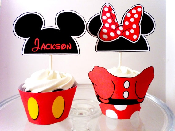 Personalized Mouse hat Digital Party Cupcake Wrappers and Toppers
