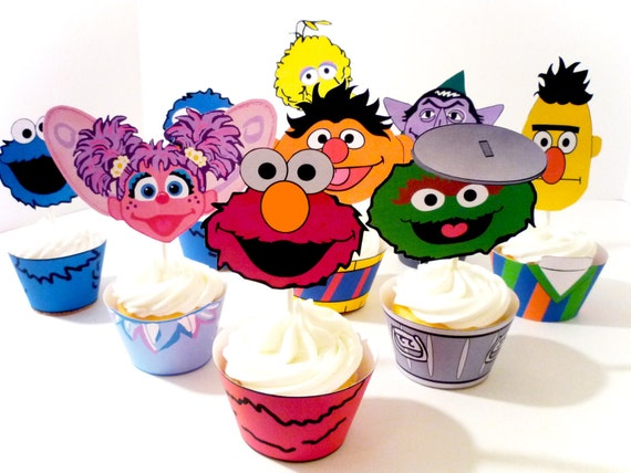 Instant Download - Printable Digital DIY - Monster Sesame Street inspired Party Cupcake Wrappers and Toppers