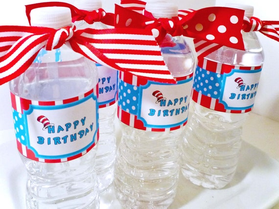 Red and blue cat hat Digital Party PRINTABLE DIY Birthday Drink Labels