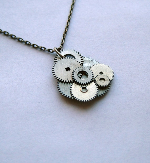 "Gear Pendant ""Stormcloud""  Clockwork Abstract Elegant Cloud Watch Gear Sculpture Delicate Necklace"