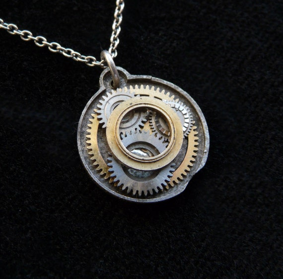 "RESERVED Pendant ""Tribute"" Elegant Intricate Tiny Watch Parts Balance Wheel Necklace Not Quite Steampunk Gift Metal Sculpture Tiny Art"