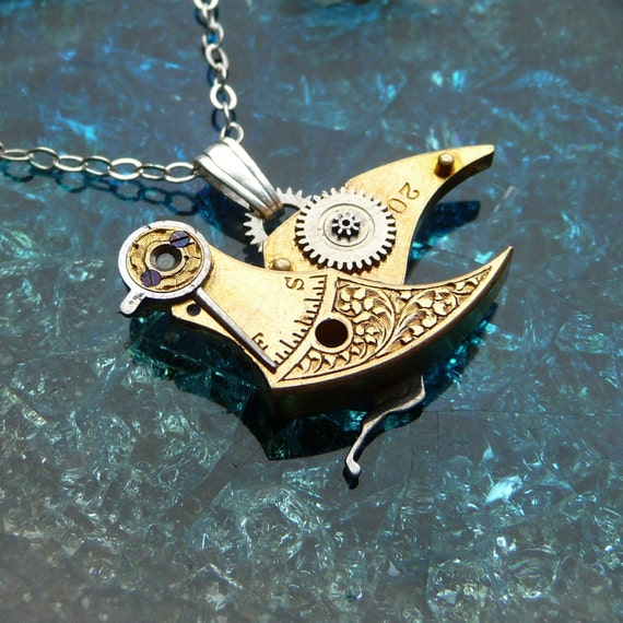 "Clockwork Bird Pendant ""A Little Bird"" Beautiful Engraved Steampunk Bird Necklace Elegant Balance Cock Sparrow Soldered Gear Robot Wing"