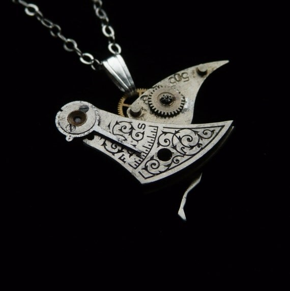 "Steampunk Bird Necklace ""Silver Swift"" Beautiful Engraved Steampunk Bird Necklace Elegant Balance Cock Sparrow Soldered Gear Robot Wing"