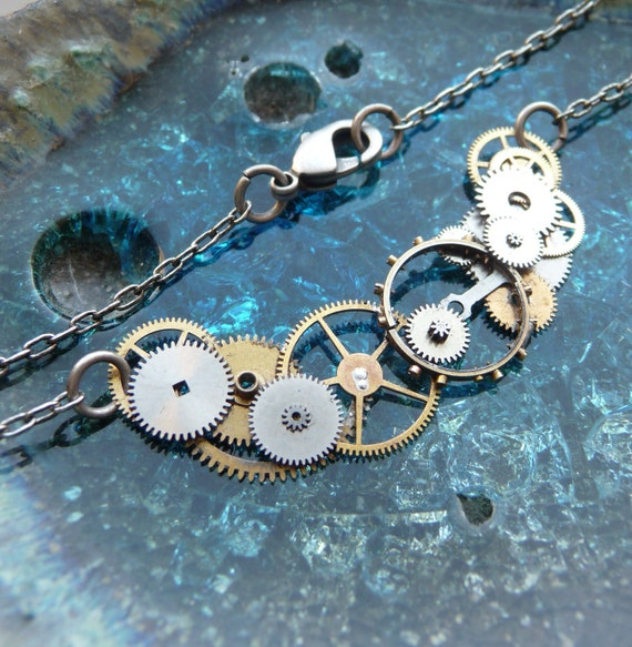 """Clockwork Necklace """"Current"""" Wave Style Elegant Recycled Mechanical Steampunk Necklace Lacy Airy Choker Sculpture Steam Punk Assemblage"""
