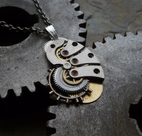 "Steampunk Pendant ""Chrysalis"" Recycled Mechanical Watch Gears and Intricate Parts Sculpture Not Quite Steampunk Assembly Metal Necklace"