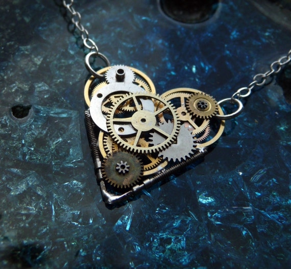 """Clockwork Heart Necklace """"Love-O-Matic"""" Mother's Day Industrial Heart Steampunk Necklace Love Choker Sculpture by A Mechanical Mind"""